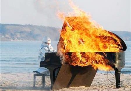 Burning piano