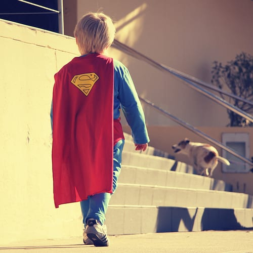 boy in Superman costume