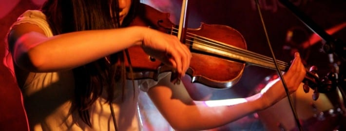 playing a violin