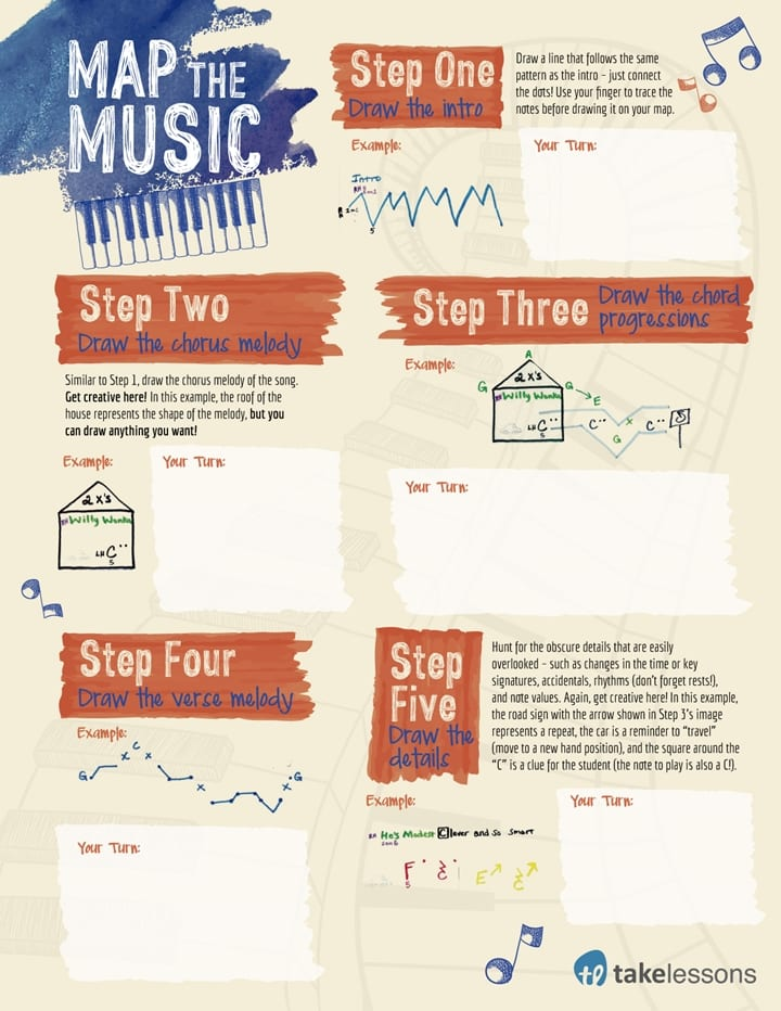 Map the Music Piano Printable Worksheet