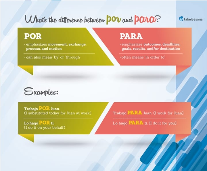 difference between por and para