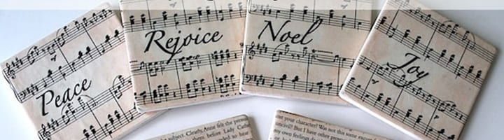 musical crafts - sheet music coasters