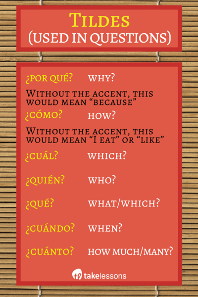 Tildes Examples - Spanish Accent Marks and rules