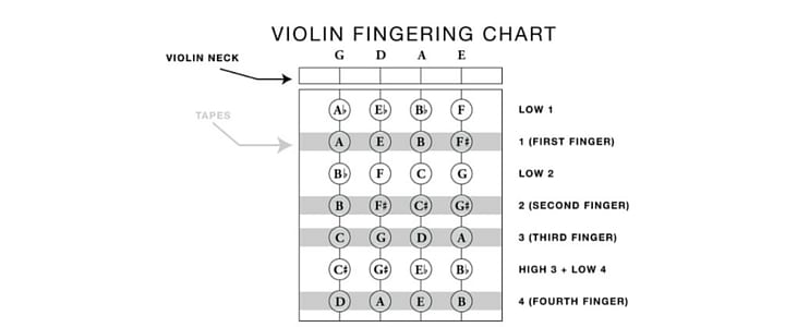 Violin String Notes Finger Placement For Beginners Chart Video