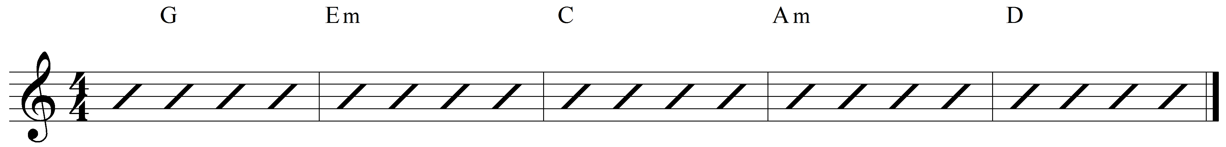 Key of G chord pattern example