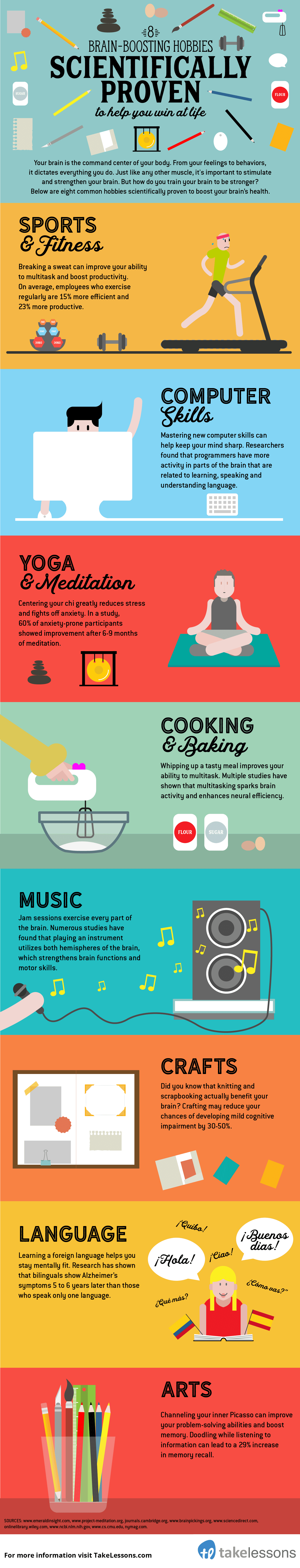 8 best hobbies for your brain - infographic
